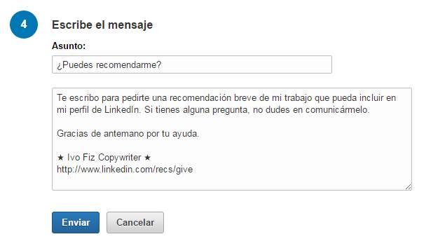 Pedir una recomendación en LinkedIn Paso 6